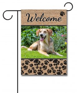 Burlap Welcome Dog Photo Garden Flag