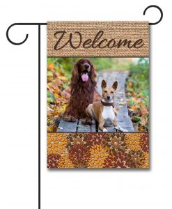Fall Flowers & Burlap garden flag