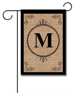 Personalized Burlap Monogram Garden Flag