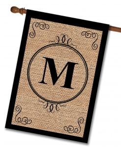 Personalized Burlap Monogram House Flag