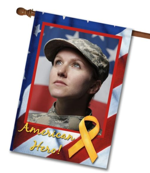 American Hero  - Photo House Flag - 28'' x 40''