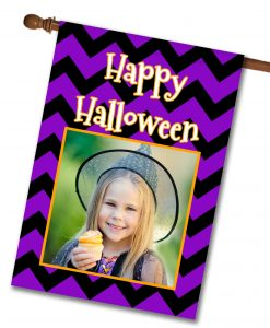 "Happy Halloween Chevron  - Photo House Flag 28""x40"""