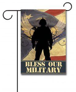 Bless Our Military - Garden Flag - 12.5'' x 18''