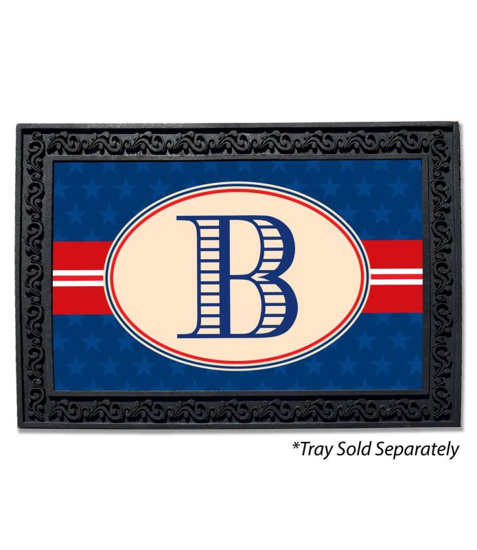 Blue Stars Monogram Doormat