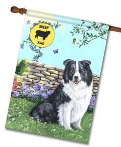 Border Collie Xing- House Flag - 28'' x 40''