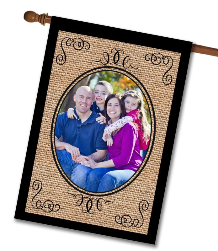 "Elegant Burlap  - Photo House Flag 28""x40"""