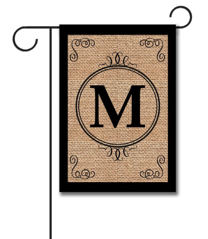 Burlap Scroll Personalized Monogram Garden Flag