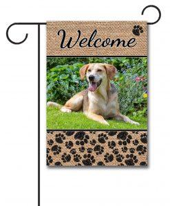 Dog Paws & Burlap - Photo Garden Flag - 12.5'' x 18''