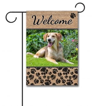 Dog Paws & Burlap - Photo Garden Flag - 12.5'' x 18''