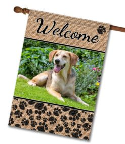 "Dog Paws & Burlap  - Photo House Flag 28""x40"""