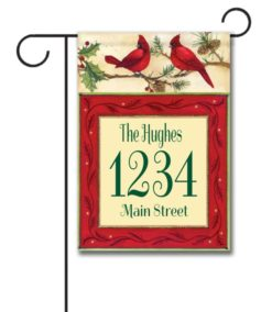 Cardinals  - Address Garden Flag - 12.5'' x 18''
