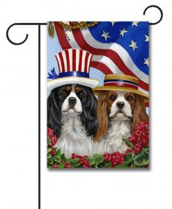 Cavalier King Charles American Pride - Garden Flag - 12.5'' x 18''