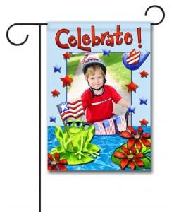 Patriotic Frog- Photo Garden Flag - 12.5'' x 18''
