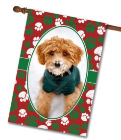 "Christmas Paws - Photo House Flag 28""x40"""