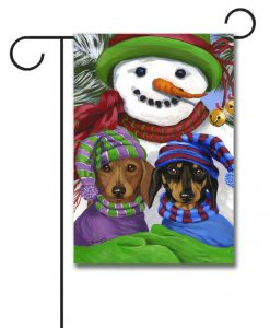 Dachshund Garden Flag Snowman Precious Pets Paintings