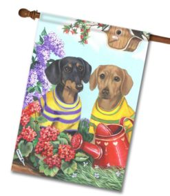 Dachshund Floral Sunshine- House Flag - 28'' x 40''