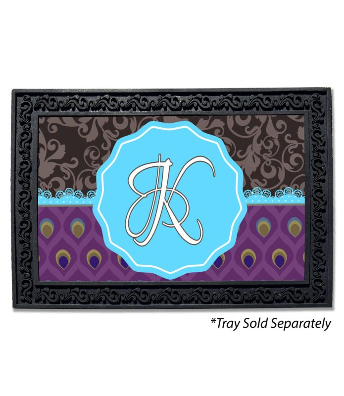 Damask Peacock Monogram Doormat