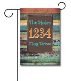 Colorful Distressed Wood  - Address Garden Flag - 12.5'' x 18''