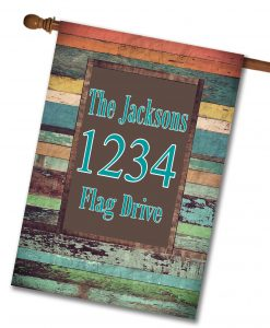 "Colorful Distressed Wood  - Address House Flag 28""x40"""