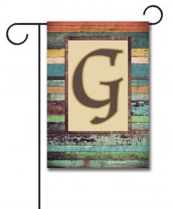 Colorful Distressed Wood  - Monogram Garden Flag - 12.5'' x 18''