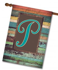 "Colorful Distressed Wood  - Monogram House Flag 28""x40"""