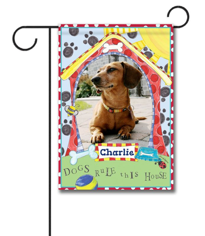 Dogs Rule This House Photo Garden Flag 12 5 X 18