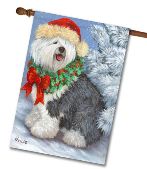English Sheepdog Christmas- House Flag - 28'' x 40''