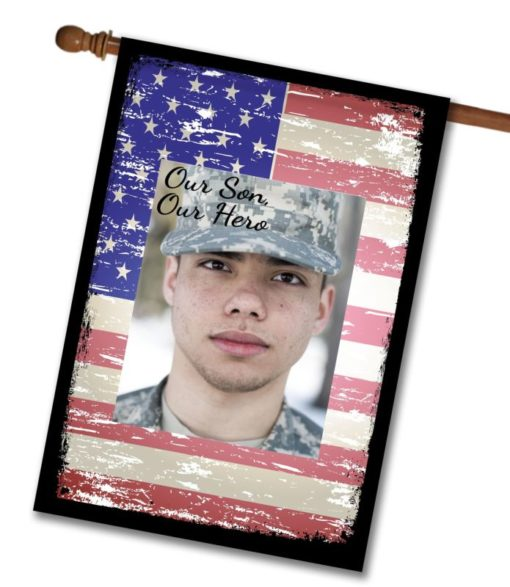 Our Hero Faded Flag  - Photo House Flag - 28'' x 40''