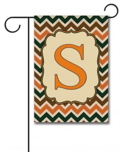 Fall Chevron  - Monogram Garden Flag - 12.5'' x 18''