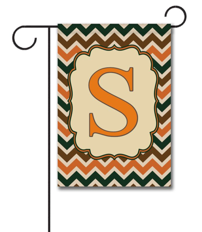 Fall Chevron Monogram Garden Flag 125 x 18 Custom