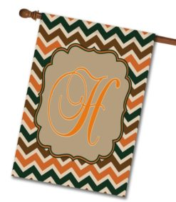 "Fall Chevron  - Monogram House Flag 28""x40"""