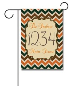 Fall Chevron  - Address Garden Flag - 12.5'' x 18''