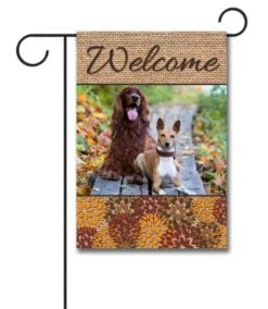 Flowers & Burlap  - Photo Garden Flag - 12.5'' x 18''