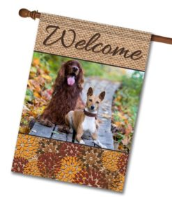 "Flowers & Burlap  - Photo House Flag 28"" x 40"""
