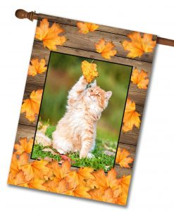 Falling Leaves  - Photo House Flag - 28'' x 40''