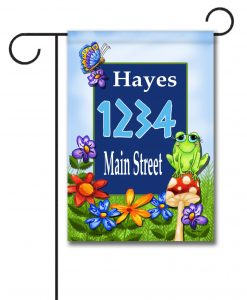 Frog on Mushroom  - Address Garden Flag - 12.5'' x 18''