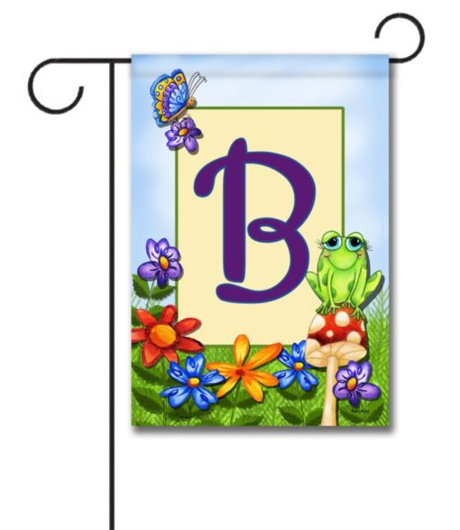 Frog on Mushroom  - Monogram Garden Flag - 12.5'' x 18''
