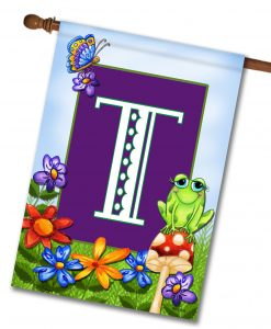 Frog on a Mushroom Personalized Monogram House Flag