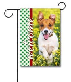 Gingham Welcome- Photo Garden Flag - 12.5'' x 18''