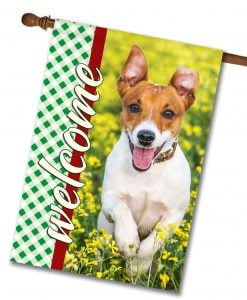 "Gingham Welcome - Photo House Flag 28""x40"""