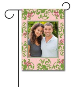 Green Damask on Pink - Photo Garden Flag - 12.5'' x 18''
