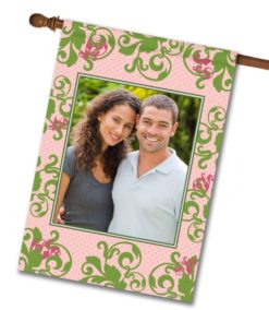 """Green Damask on Pink  - Photo House Flag 28""""x40"""""""