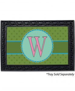 Green Polka Dots Monogram Doormat
