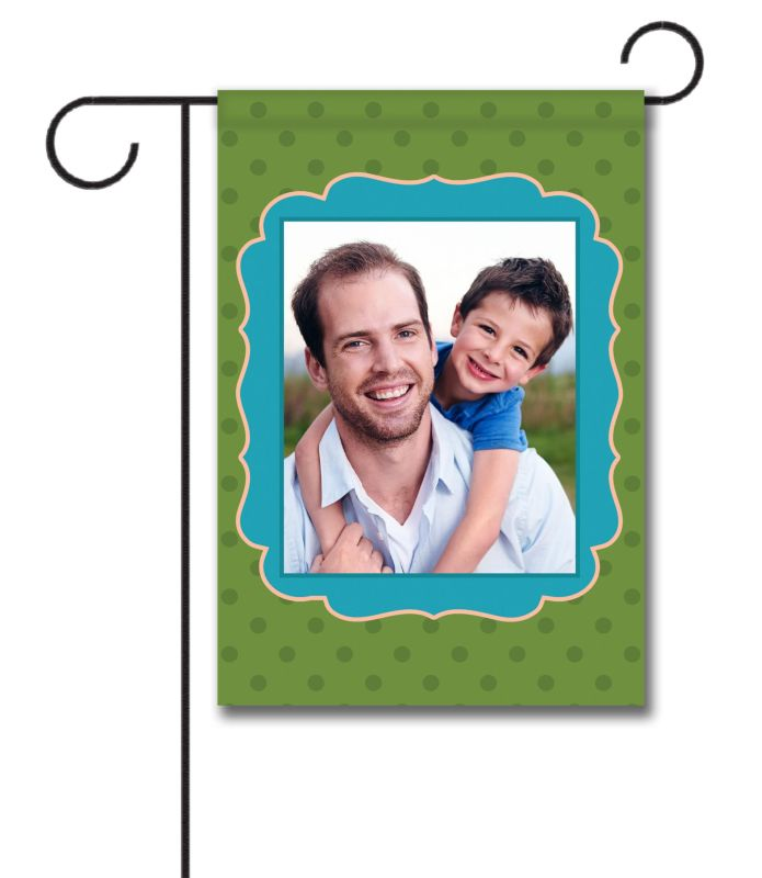 Green Polka Dots with Blue Frame - Photo Garden Flag - 12.5'' x 18''