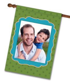 "Green Polka Dots with Blue Frame  - Photo House Flag 28""x40"""