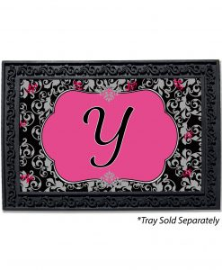 Grey & Black Damask Monogram Doormat