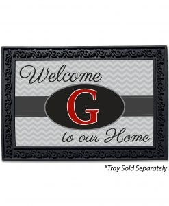 Grey Chevron Welcome Monogram Doormat