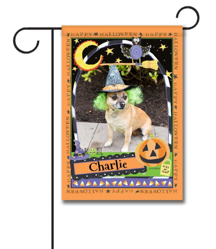 happy halloween - photo garden flag - 12.5'' x 18'' - custom printed