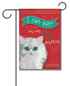 I Can Purr Persian Cat- Garden Flag - 12.5'' x 18''
