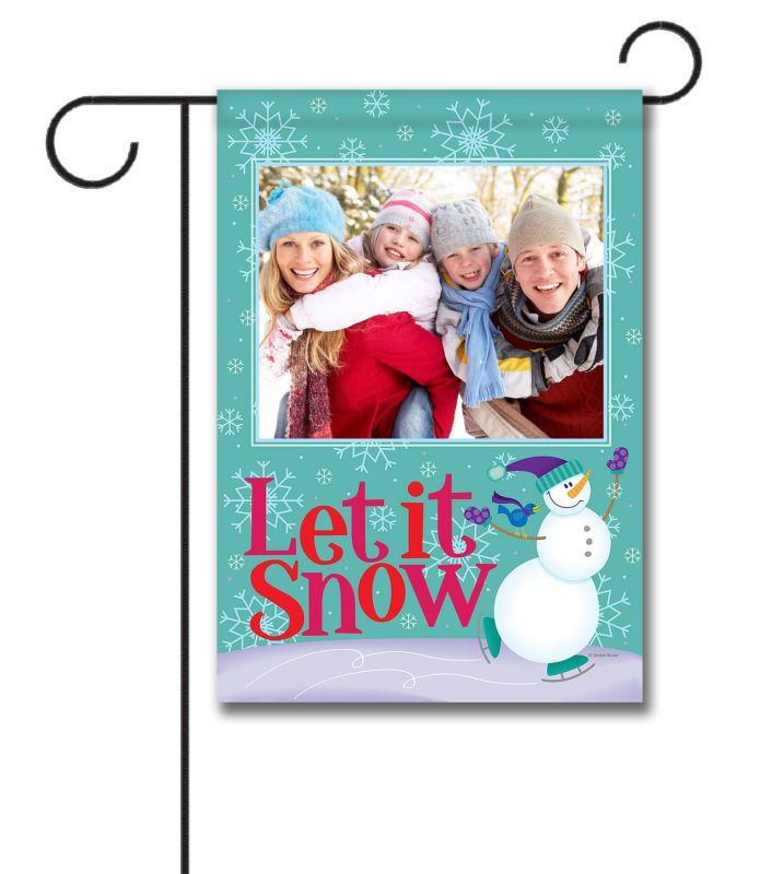 let it snow photo garden flag 12 5 u0027 u0027 x 18 u0027 u0027 custom printed